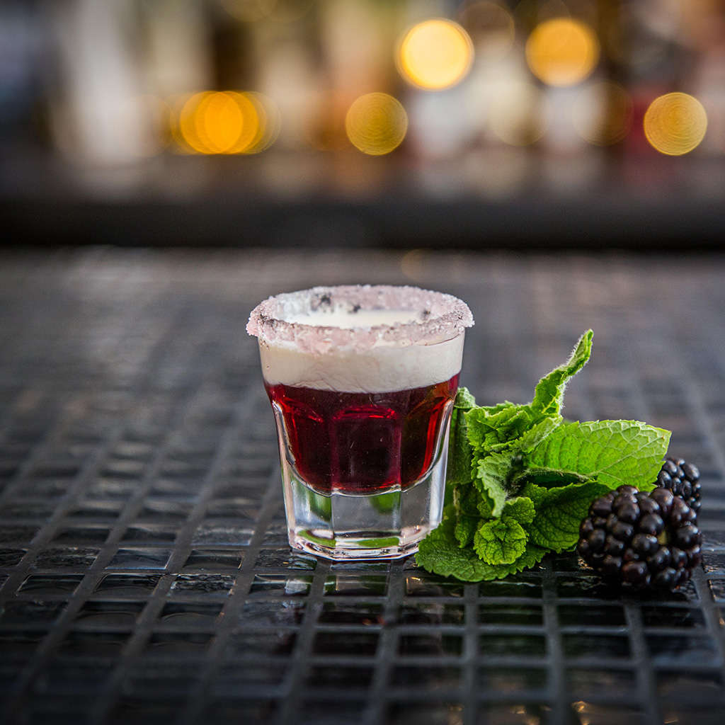 Blackberry Doughnut Cocktail with Cornish Mead